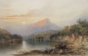 Title: Scene On Loch and Perthshire, 1857, by Cornelius B. Pearson (1805-1891) in the Joseph & Rita Orr Art Collection, Orr Art Gallery, Osage Beach, MO