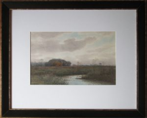 Title: Marsh Lands in Barrington, RI, Colored Pencil & Watercolor on paper, by Samuel R. Chaffee (1850-1913), Joseph & Rita Orr Collection, Orr Art Gallery, Osage Beach, MO