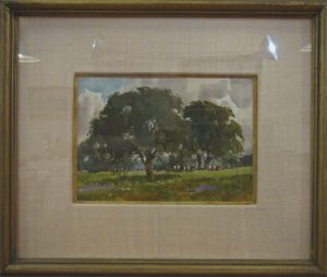 Title: Live Oaks & Herefords, by Lowell Ellsworth Smith (1924-2008) in the Joseph & Rita Orr Collection, Orr Gallery, Osage Beach, MO