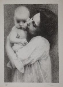 Title: Mother & Child, stone lithograph by Jennie Tomao in the Joseph & Rita Orr Collection, Orr Art Gallery, Osage Beach, MO